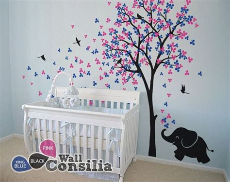 Nursery Wall Mural Decals Baby Nursery Wall Decals Tree Wall Decal Elephant Decal Decor Tree Wall Mural Sticker