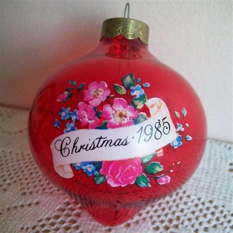 vintage red glass ball grandmother 1985 hallmark christmas