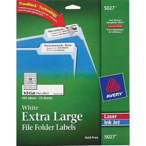 Avery Permanent Extra Large File Folder Labels With Trueblock Technology Zerbee Avery File Folder Labels Template