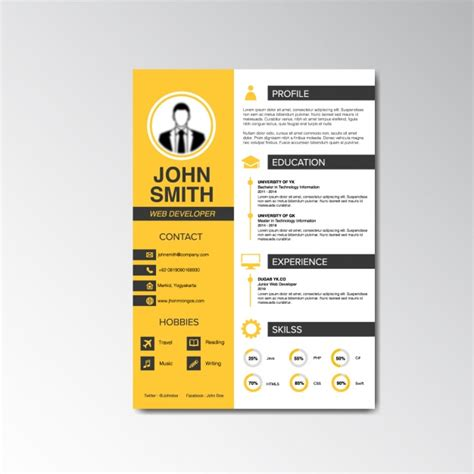 curriculum vitae english design curriculum vitae design vector free download