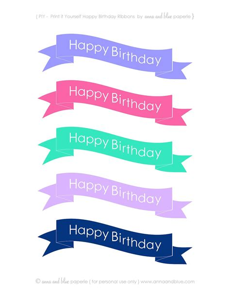 Free Printable Happy Birthday Banner For Cake | anna and blue paperie free printable happy birthday