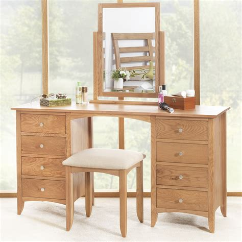 Oak Vanity Table With Drawers Edward Hopper Oak Dressing Table Large Dressing Table 8 Drawers Metal Runners Ebay