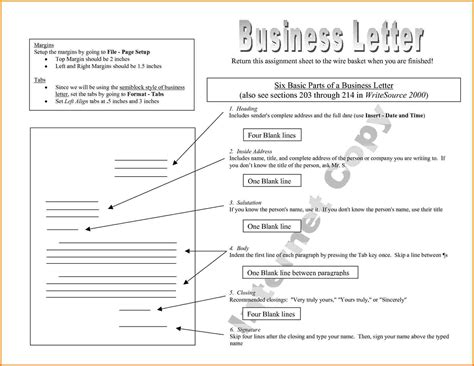 Parts Of A Business Letter For Students 8 parts of a business letter the letter sle