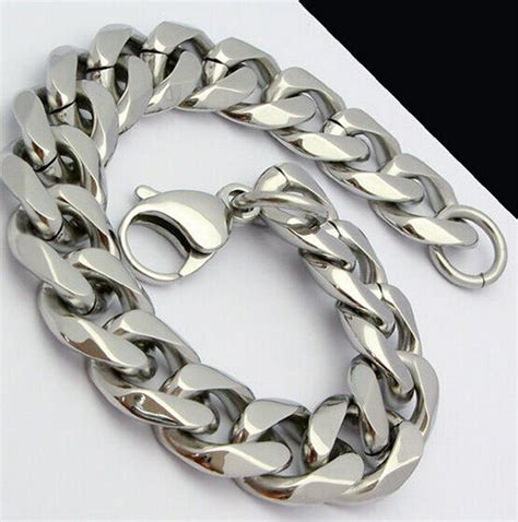 huge heavy curb link chain bracelet mens jewelry