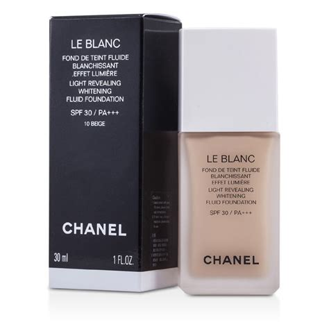 Chanel Le Blanc Whitening Spf 30 Fluid Foundation le blanc light revealing whitening fluid foundation spf 30 10 beige chanel f c co usa
