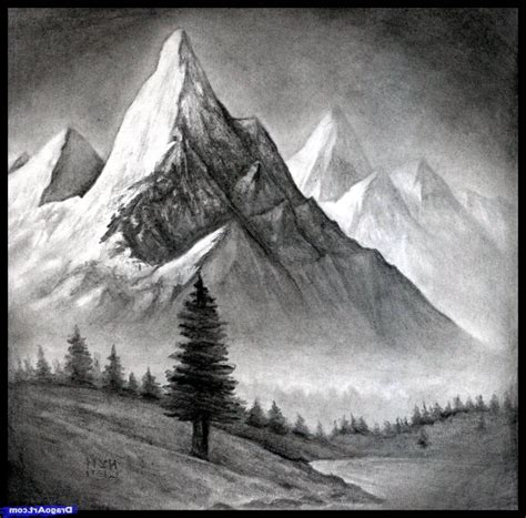 Sketches Mountains by Pencil Sketches Of Mountains Drawing Sketch Library