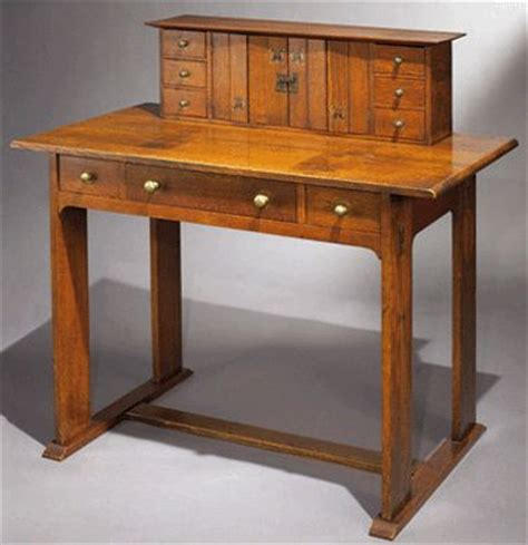 gustav stickley writing desk arts and crafts furniture