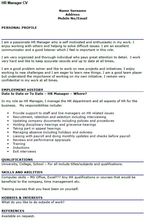 hr manager cv example cover letters and cv examples