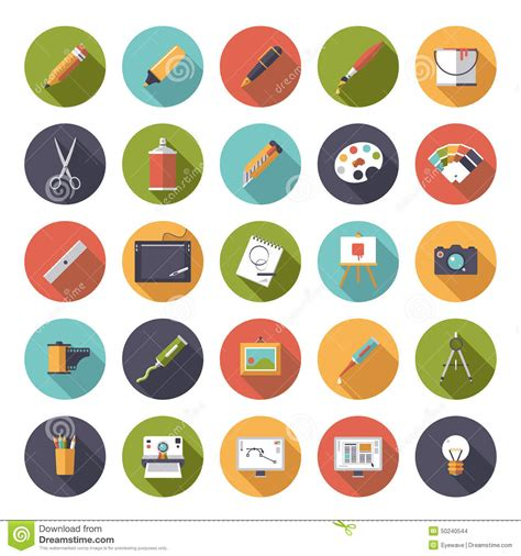 flat design icon vector art and design flat icon vector collection stock vector