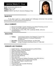 Resume Sample Format For Abroad by