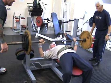 bench press age ted brown age 82 60kg body weight bench pressing 80kg