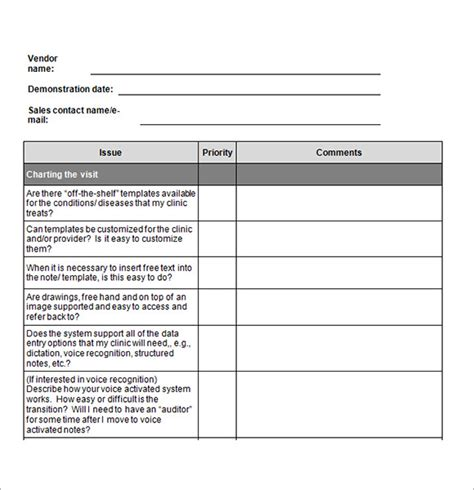 sle feedback form template 28 vendor evaluation template sle vendor evaluation 6