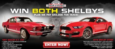 Shelby Mustang Giveaway - 1967 2016 shelby mustang gt350 plus 45 000 for taxes