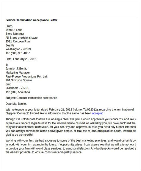 vendor contract cancellation letter sle letter accepting contract cancellation 28 images