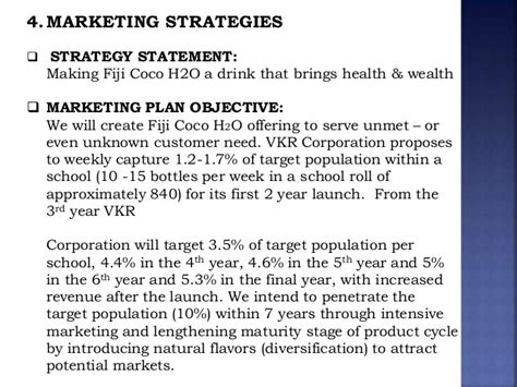 marketing objective statement fiji coconut water mba437 marketing presentation