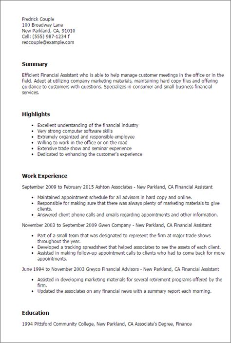 assistant finance manager resume format financial assistant my resume