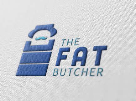 embroidery design mockup the fat butcher logo design on behance