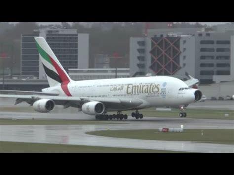 emirates zurich hd emirates a380 bad weather landing at zurich airport