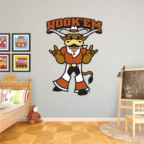 texas longhorn bedroom decor texas mascot hook em wall decal shop fathead 174 for
