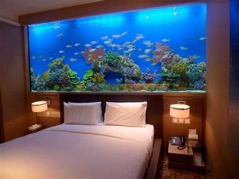 Fish Tank Headboards For Sale by Marvelous Fish Tank Bedroom Wall Design With Small Table