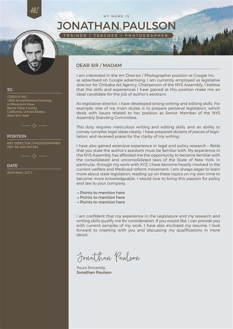 Free Professional Modern Resume Cv Portfolio Page Cover Letter Design Template Free Modern Cover Letter Template