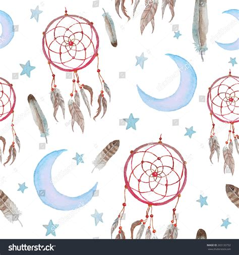 watercolor drawn pattern watercolor hand drawn dreamcatcher background tribal stock