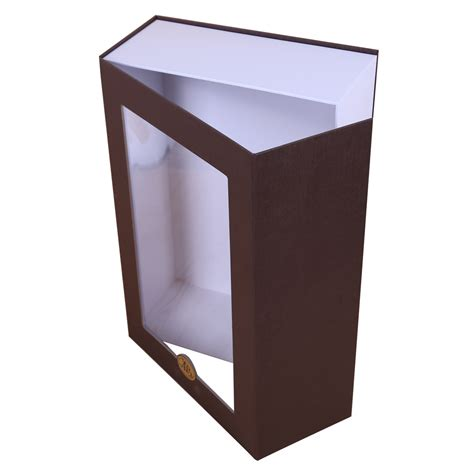 window gift box brown magnetic closure gift box with window dhp factory