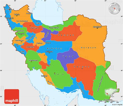 political colors political simple map of iran single color outside