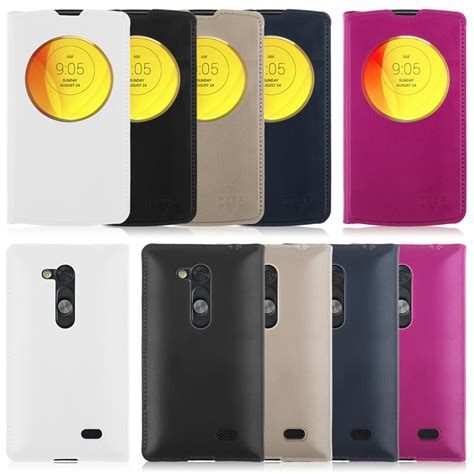 Casing Pu Syntetic Leather Circle Window Premium Lg L Fino slim circle window view leather flip battery cover skin for lg phones ebay