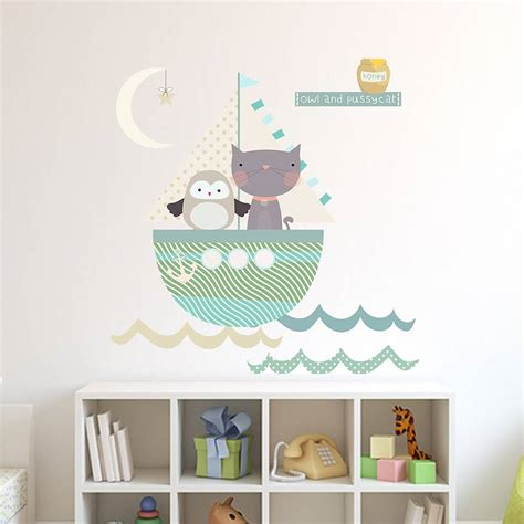 owl bedroom wall stickers owl and pussycat fabric wall stickers by littleprints