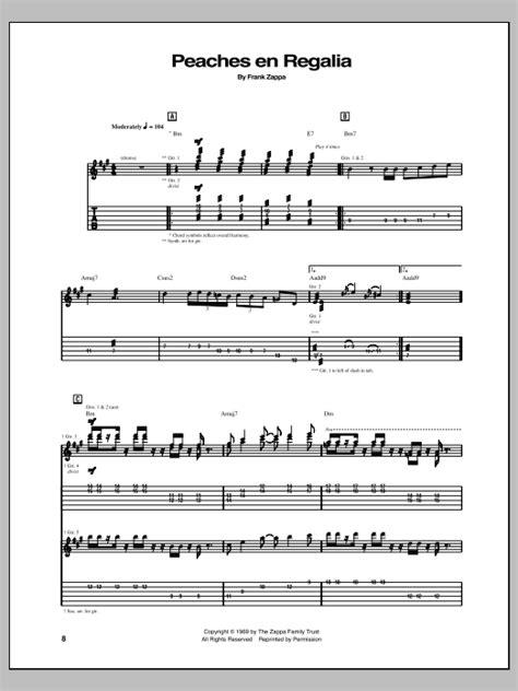 frank zappa sofa lyrics peaches en regalia guitar tab by frank zappa guitar tab