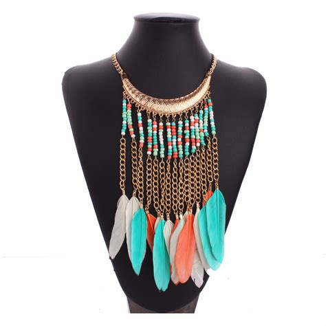 boho chic style african american indian jewelry feather necklace fashion nigerian choker
