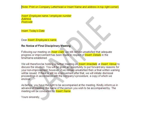 Appeal Letter Outcome Poor Conduct Documents Disciplinary And Dismissal Employer Pack The Stop