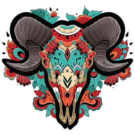 new year ram vector colorful ram skull stock photo image 48335005