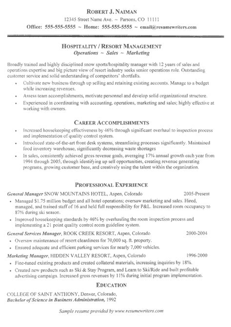 resume for folks in the hospitality industry hospitality resume resumewriters sle