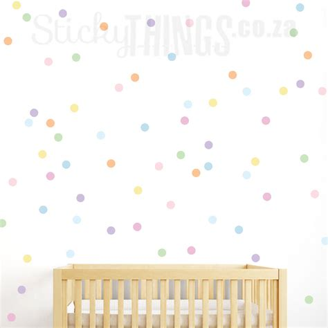 Stickers For Baby Room Walls confetti pastel polka dot wall sticker stickythings co za