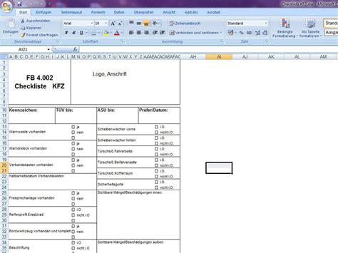 werkstatt check checkliste kfz excelvorlage de