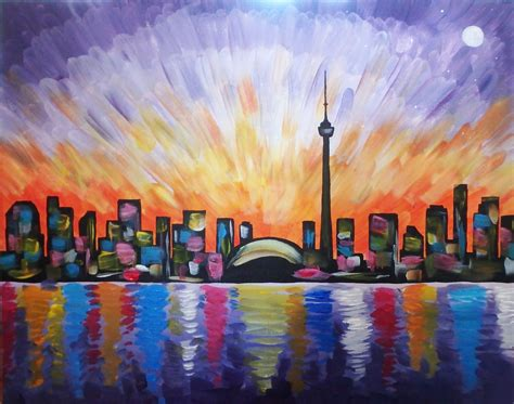 paint nite chicago paint nite vibrant toronto skyline more than a buzz