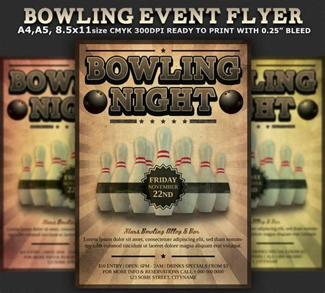 bowling flyers templates free bowling event flyer template cares