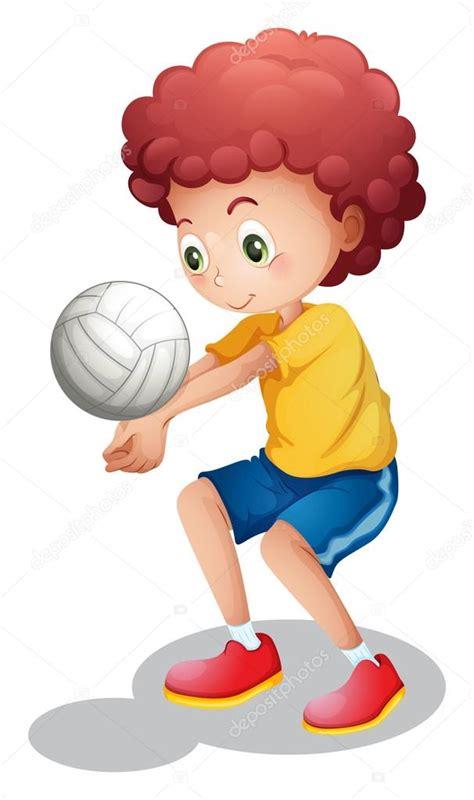imagenes de niños jugando volibol un ni 241 o jugando voleibol vector de stock