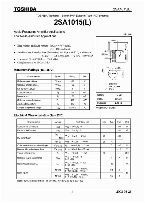 a1015 transistor application a1015 303889 pdf datasheet ic on line