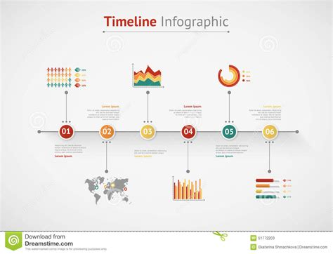 timeline infographic world map stock vector