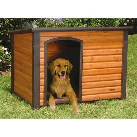 hunting dog houses precision pet 174 outback log cabin dog house 174235 kennels beds at sportsman s