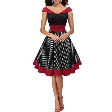 60s swing dress 50s 60s womens v neck vintage polka dot swing