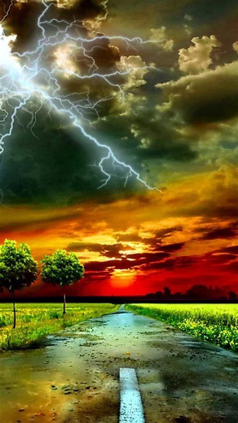 clouds trees lightning photo manipulation roadway sky
