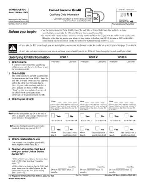 Earned Income Credit Tax Forms 2011 Form Irs 1040 Schedule Eic Fill Printable Fillable Blank Pdffiller