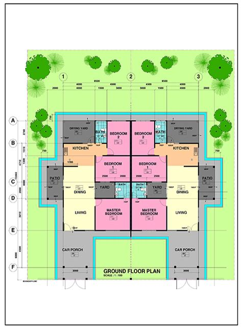 single storey semi detached house floor plan vista perdana housing project in miri city spnb