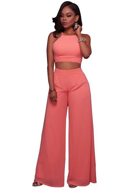 Set Toppants N0489 s solid color 2 crop top set novashe