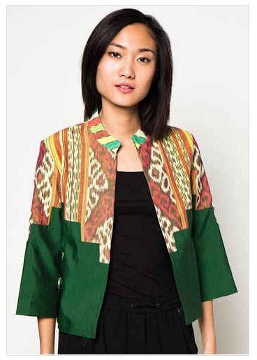 Blus Muslim Tunik Blazer W4ue desain baju muslim blazer kombinasi batik model baru