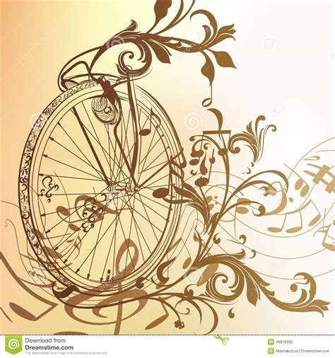 imagenes de notas musicales vintage music background with bike wheel notes and swirls in